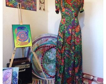 OOAK True Vintage 1970s Psychedelic Maxi Dress size 8 - Gypsy - Boho - Festival