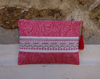 Clutch/cosmetic case red and white