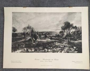 Rubens. Landscape at sunset. 1920's antique print