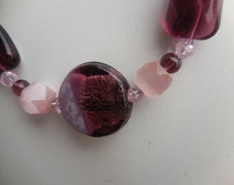 Purple and pink Lampwork necklace
