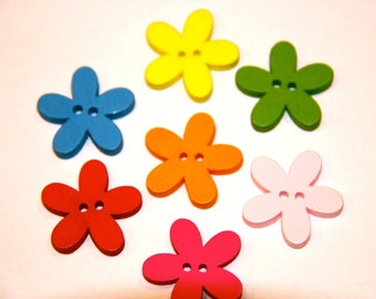 LOT 5 PAINTED FLOWER WOOD BUTTONS
