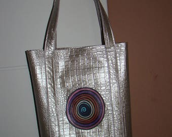 Tote bag fancy two waxed canvas and leather handles