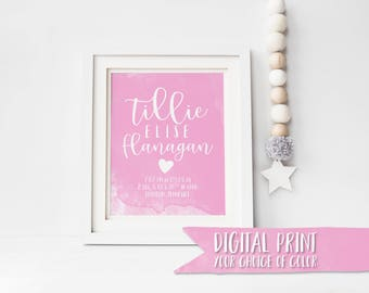 CUSTOM Baby Girl Birth Stats Print, Multiple color options, Printable Wall Decor, Custom Digital Print