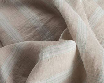 100% Linen Pale Check Fashion Upholstery Vintage Dress Craft Supplies Colour Style Design Fabric Sample Available