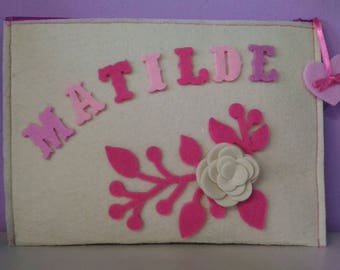 Personalized makeup bag with name in letters of personal felt