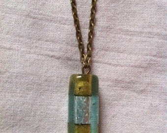 Necklace bronze gold and silver pendant