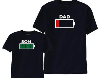 Dad And Son Matching Shirts Mommy and Son Outfits Battery Full & Empty