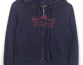 Rare!!! Vintage!!! Polo Jeans Company Ralph Lauren Hoodies Spellout Double Pockets Zipper Multicolors