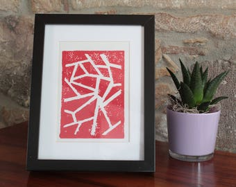 A5 linocut decoration - pattern lines - Red