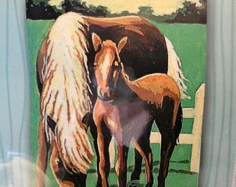 Kit canvas for children, Margot Canevas, horse with foal