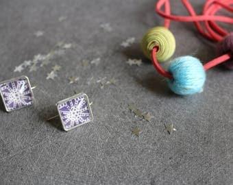 Purple square earrings / blue patterned Japanese