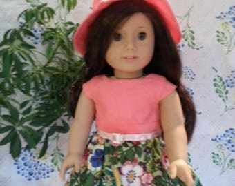 """Peach and Floral Dress and Hat with Heart Shaped Back for 18"""" and American Girl Dolls"""