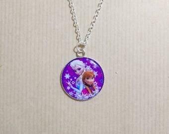 Unique necklace with resin epoxy frozen cabochon