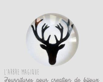 2 cabochons glue deer glass 14 mm - A385
