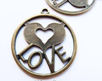 bronze Love pendant x 4