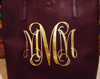 Monogrammed Faux Leather Tote Bag - Faux Leather Monogram - Monogrammed Faux Leather Tote - Personalized Faux Leather Tote - Custom Tote Bag