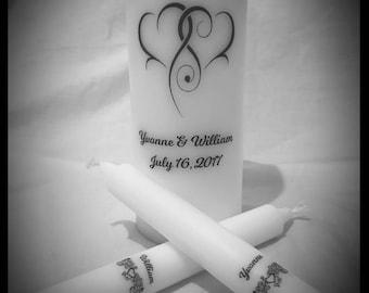 Unity candle set, personalised unity candle set, unity candle, personalised unity candle, wedding candles