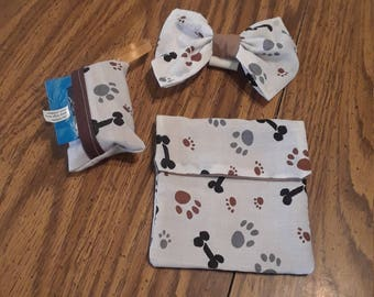 Medium doggie bow with poop pick up bag and training treat bag