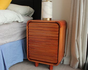 A pair of Tasmanian Oak Bedside Tables - Handmade Mid Century Inspired Classic