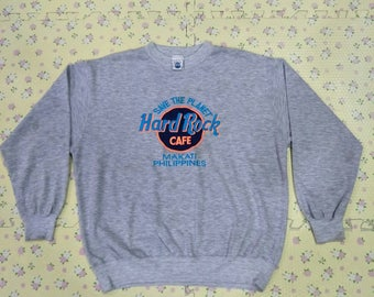 Vintage HARD ROCK CAFE crewneck Sweatshirt Embroided Big Logo Spell Out for Streetwear Hip Hop Swag size Small