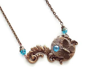 With a watch gear steampunk Butterfly pendant necklace