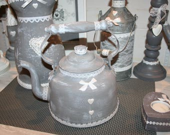 old coffee pot ceruse grey shabby lace heart