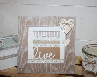 White heart frame taupe and white shabby live l gift idea?