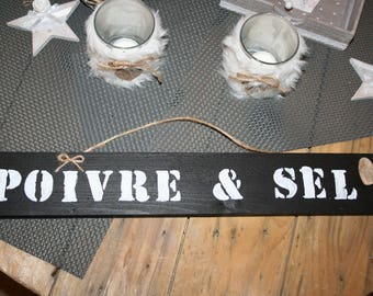 "sign ""salt & pepper"" kitchen black and white wood heart"
