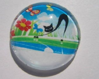cabochon cat stretching 20mm