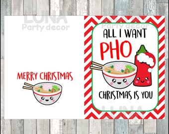 Funny Christmas card, foodie christmas card, cute Christmas card, funny card for boyfriend, girlfriend, husband, wife, instant download