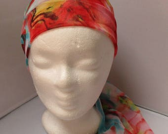 Headband Turban headband Headhand stretchy scarf go orange and turquoise