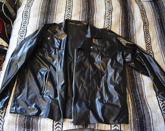 Faux Leather Motorcycle Jacket Size XL