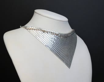 Lovely sterling silver mesh bib drape disco style necklace choker