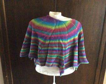 Colourful curved Wool shawl/wrap/scarf