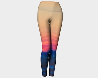 Women's-clothing-Sunset-ombre-cute-yoga-leggings-tights-Workout-Exercise-cute-yoga-pant-fun-unique-movement-landscape-nature-gift-friend-mom