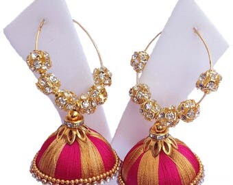 Malticolour  Handmade Silk thread earring