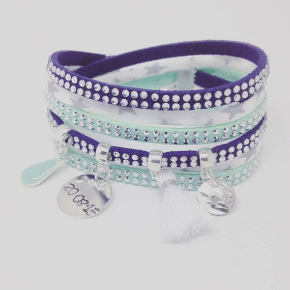Personalized Bracelet multi strand LIBERTY star with personalized engraving by Palilo