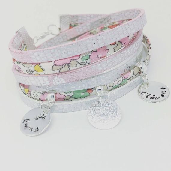★ personalized jewel ★ Liberty of London prints custom ★ Palilo jewelry pink multi strand Bracelet