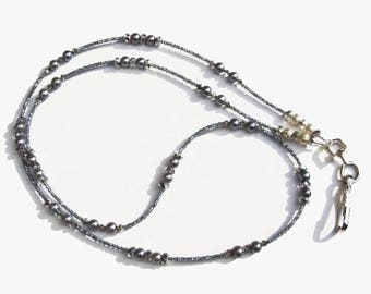 Black Pearl Sparkling Grey Crystals Beaded Lanyard