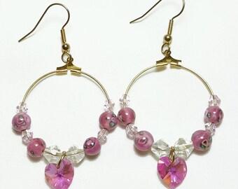 Pink Crystal Heart GF Hoop Beaded Earrings