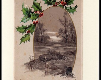 A Merry Christmas Sepia Tone Embossed Vintage Greeting Card