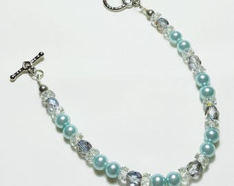 Light Blue Pearl Crystal Wedding Bridal Bracelet