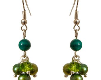 Women earrings dangling small cluster of green shades (blue, olive and light green)