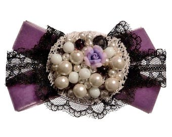 Black spirit brooch Victorian Gothic velvet bow flower fimo purple and Black Lace