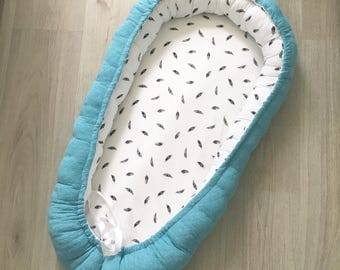 Baby Litter/Babycot-Petrol blue with feathers