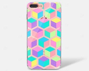 Geometric Square Pattern Rainbow Bright Pantone Clear Silicone TPU iPhone Case iPhone 6 iPhone 7 iPhone 7 PLUS iPhone 6 PLUS