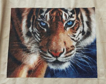 Blue Eyed Tiger - Handmade Large Completed Cross Stitch