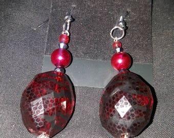 LID Enterprises, Hand Crafted Earrings, Red & Black