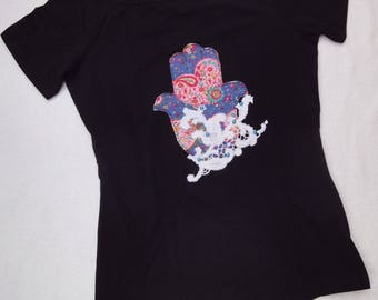 "black T-Shirt adorned with lace and beads ""Fatima's hand"" for ladies"