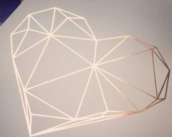 geometric heart foil print